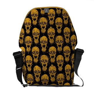 Yellow and Black Zombie Apocalypse Pattern Messenger Bags