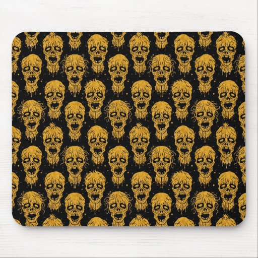 Yellow and Black Zombie Apocalypse Pattern Mouse Pads