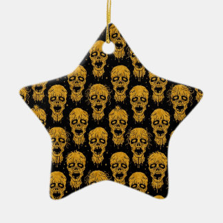 Yellow and Black Zombie Apocalypse Pattern Christmas Ornaments