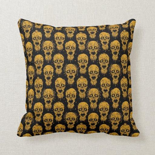 Yellow and Black Zombie Apocalypse Pattern Pillows