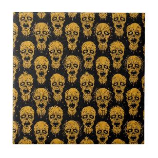 Yellow and Black Zombie Apocalypse Pattern Tiles