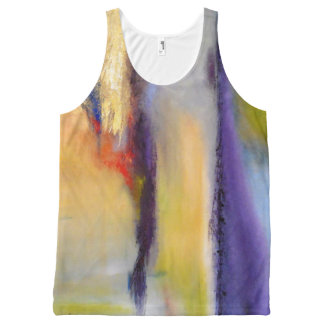 Yellow and Blue Abstract Tank Top