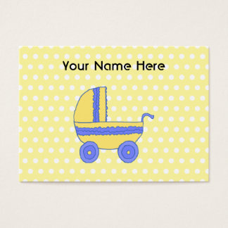 Yellow and Blue Baby Stroller. Business Card