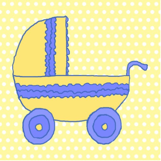 Yellow and Blue Baby Stroller. Photo Cut Outs