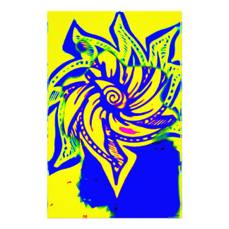 yellow and blue bloom stationery paper