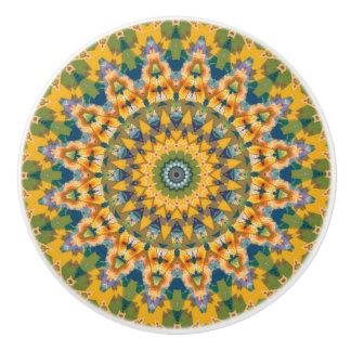 Yellow and Blue Boho Chic Mandala Ceramic Knob