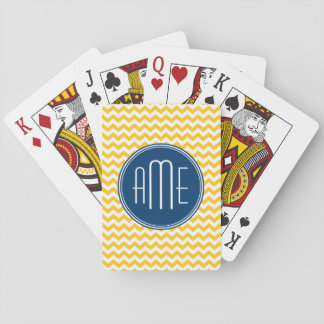 Yellow and Blue Chevron Pattern with Monogram Playing Cards