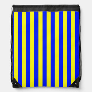 Yellow and Blue Coloured striped pattern Drawstring Bag
