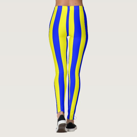 Yellow and Blue Coloured striped pattern Leggings