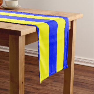 Yellow and Blue Coloured striped pattern Short Table Runner