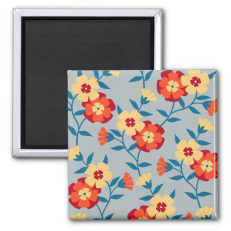 Yellow and Blue Floral Modern Magnet