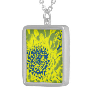 YELLOW AND BLUE FLOWER SIVERPLATED NECKLACE