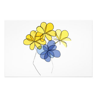 Yellow and blue flowers stationery design