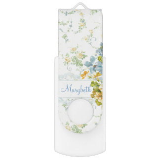 Yellow and Blue Girly Floral Personalized USB Flash Drive