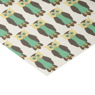 Yellow and Blue-Green Owl Tissue Paper