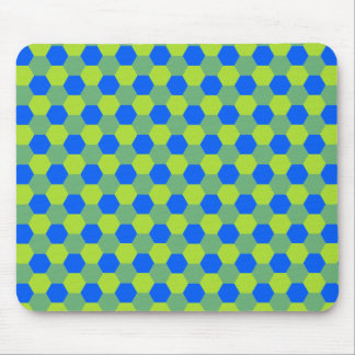 Yellow and blue honeycomb pattern mouse pad