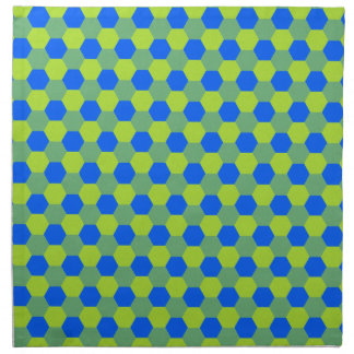 Yellow and blue honeycomb pattern napkin