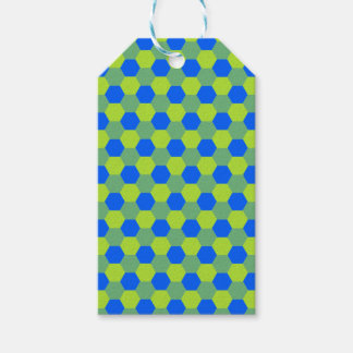 Yellow and blue honeycomb pattern pack of gift tags