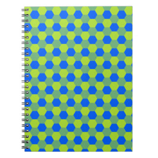 Yellow and blue honeycomb pattern spiral notebook