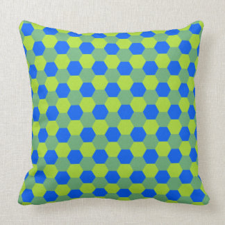 Yellow and blue honeycomb pattern throw pillow