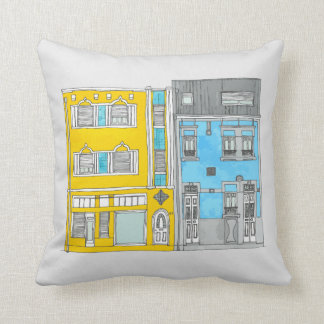 Yellow and Blue Houses Illustration Pillow