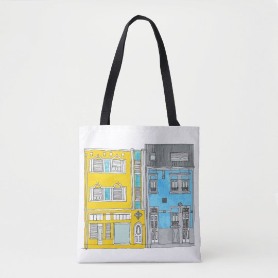 Yellow and Blue Houses Illustration Tote Bag