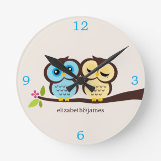 Yellow and Blue Owl Couple Wall Clock