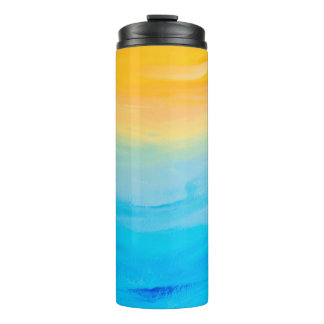 Yellow  and Blue Painted Abstract Thermal Tumbler