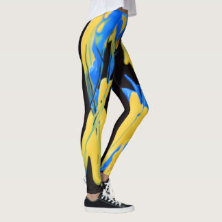Yellow and blue paints leggings