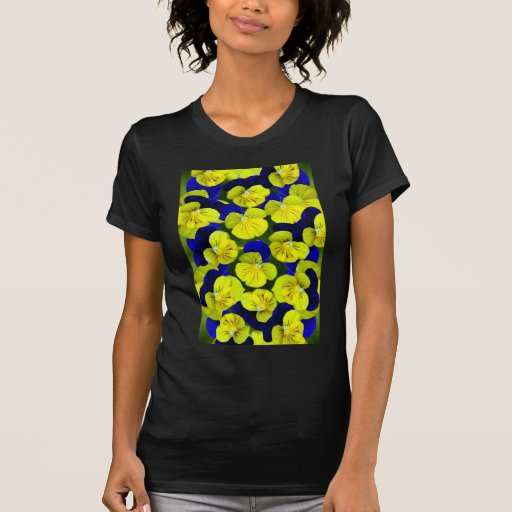 Yellow and blue pansies tee shirts