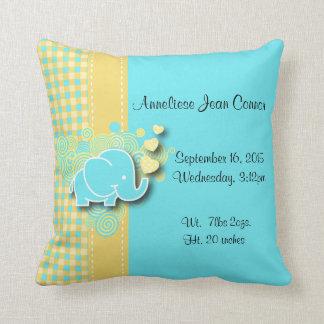 Yellow and Blue Plaid Baby Elephant Nursery Theme Throw Pillow
