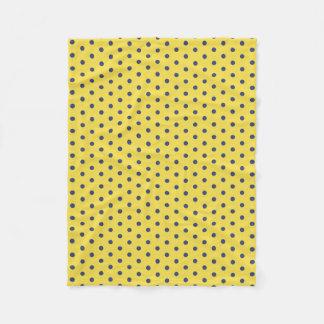 Yellow and Blue Polka Dot Fleece Blanket