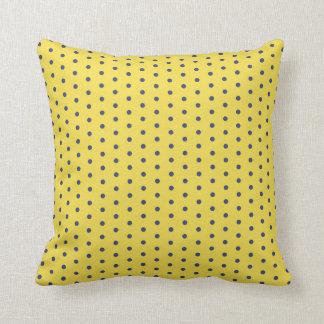 Yellow and Blue Polka Dot Throw Throw Pillow
