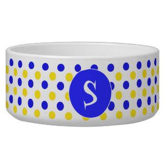 Yellow and Blue Polka Dots Monogrammed Pet Bowl
