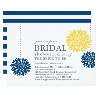 Yellow and Blue PomPom Flowers Bridal Shower Card
