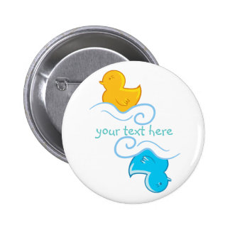 yellow and blue rubber duck 2 inch round button