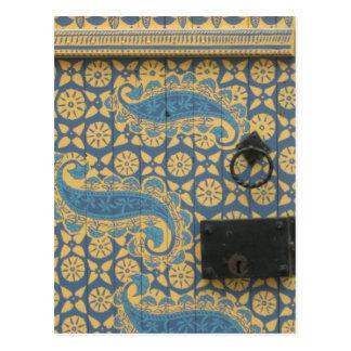 Yellow and Blue Tallinn, Estonia Wooden Doorway Postcard