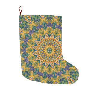 Yellow and Blue Tapestry Mandala Holiday Large Christmas Stocking