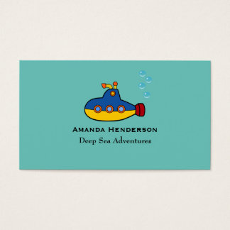 Yellow and Blue Toy Submarine Deep Sea Diving Business Card