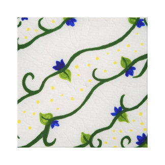 Yellow and Blue Vines Canvas Print