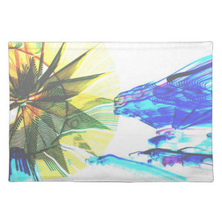 Yellow and Blue Zoomed Rides on White Abstract Placemat