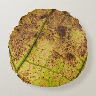 Yellow and Brown Dying Macro Leaf Round Pillow