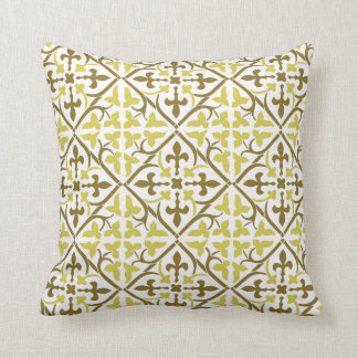 Yellow and Brown Medieval Pattern Pillow