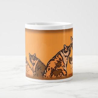 Yellow and brown tabby cats jumbo mug