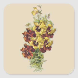 Yellow and Brown Victorian Pansies Square Stickers