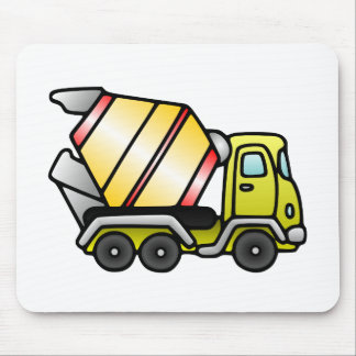 Yellow and Cement Mixer Mouse Pad