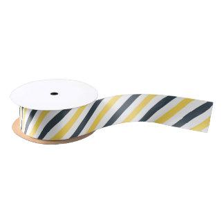 Yellow and Charcoal Grey Stripes Satin Ribbon