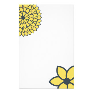 Yellow and Charcoal Modern Floral Stationery