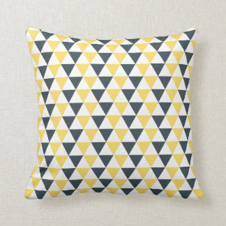 Yellow and Charcoal Triangles Pattern Throw Pillow