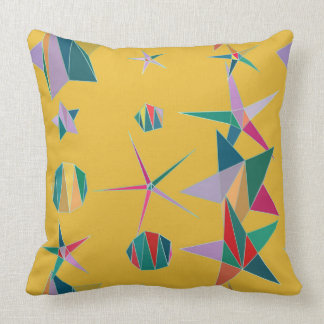 Yellow and Colorful Stars and Shapes Pillow